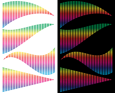 convex shape: Eq - equalizer templates for music, audio related design. Grid of rectangles with distortions generic elements Illustration