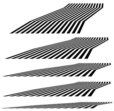 perspectiva lineal: elementos de líneas geométricas en 3D en diferentes niveles de perspectiva