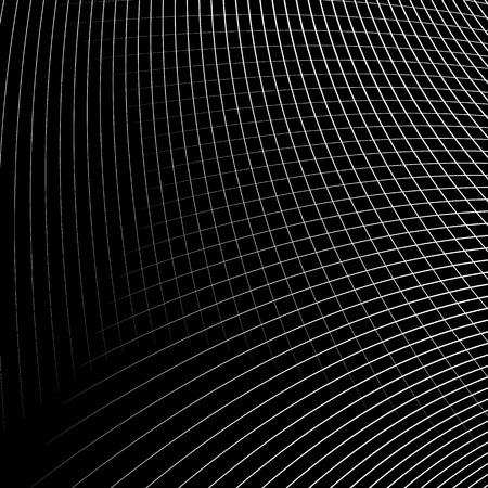 Grid - mesh of dynamic curved lines. Abstract geometric pattern. Monochrome texture.
