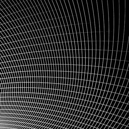 distort: Grid - mesh of dynamic curved lines. Abstract geometric pattern. Monochrome texture.
