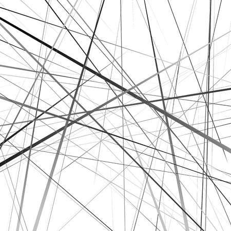 Arte geométrico de líneas de intersección aleatoria. Asimétrico patrón de líneas irregulares.