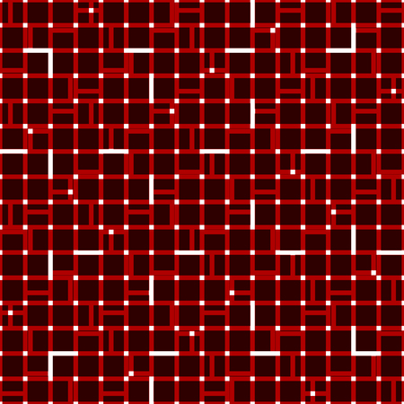 reticular: Irregular grid mesh with squares. Seamlessly repeatable duotone geometric pattern.