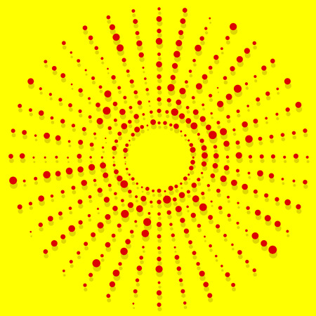duo: Random dots radial halftone element, pop art red, yellow colors