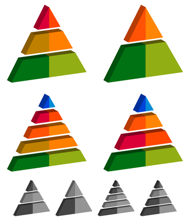 multi layered: Pyramid, cone, triangle charts, graphs. 3-2-5-4 level, multilevel infographics, presentation elements