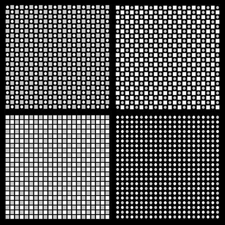 staggered: Set of 4 grayscale regular pattern with squares and circles Illustration