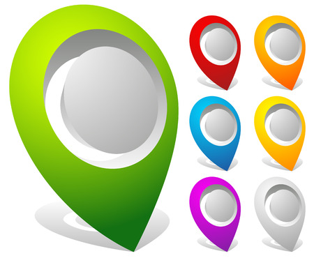 adress: 3d bold map markers, map pins in 7 colors Illustration