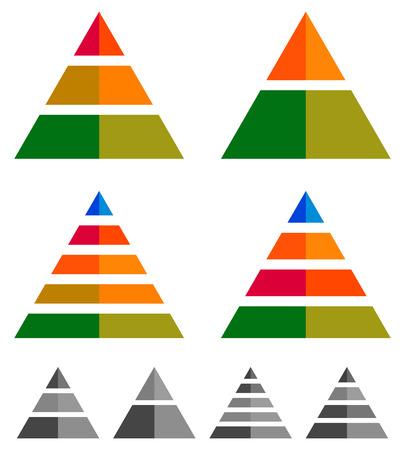 multilevel: Pyramid, cone, triangle charts, graphs. 3-2-5-4 level, multilevel infographics, presentation elements