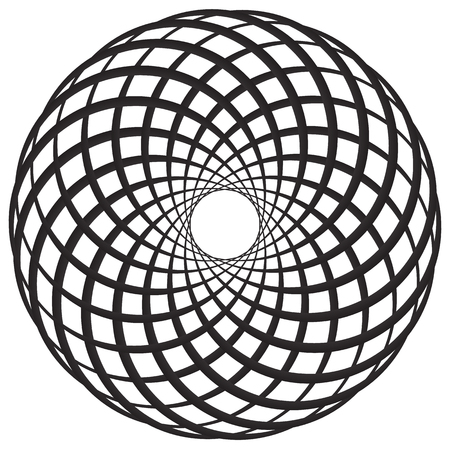 reticular: Circular geometric motif, element, Concentric circles abstract shape.