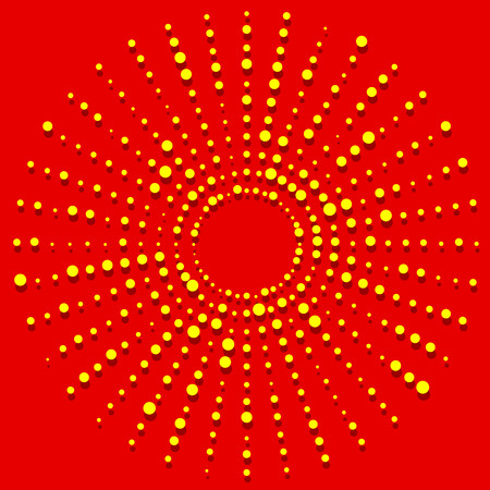 Random dots radial halftone element, pop art red, yellow colors
