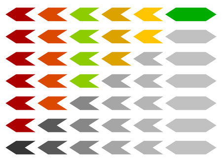 completion: Progress  loading bar, step, stage indicators with hexagons Illustration