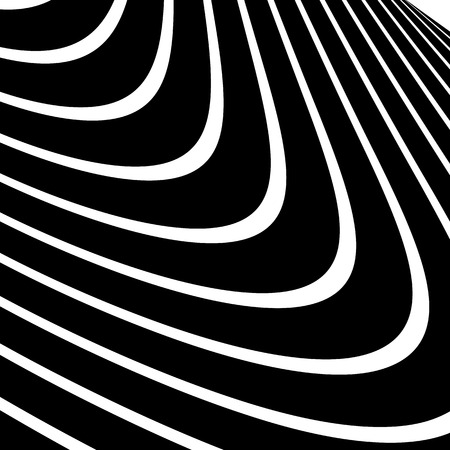 snaky: Distorted, warped lines geometric monochrome pattern. Black and white distorted shapes