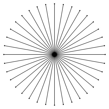 epicentre: Circular radial, radiating lines element. Abstract rays, beams, flash effect Illustration