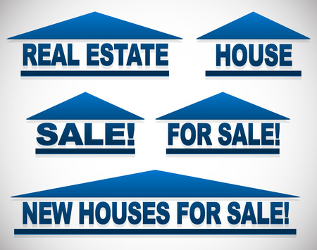 homes for sale: Icons with text for real estate concepts - For sale signs house symbols