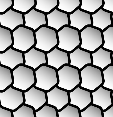 reticulation: Repeatable seamless pattern with tilted, overlapping hexagons. Geometric monochrome textures