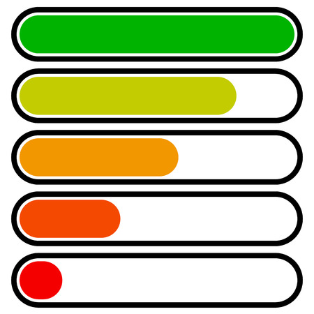 completion: 5-step progress, load bars in sequence. Step, phase, level, completion indicator Illustration
