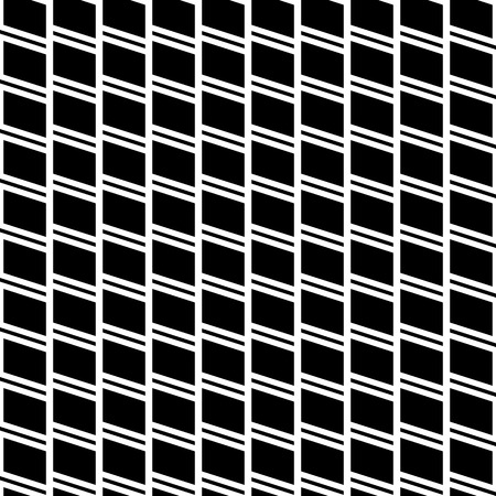 tilt: Geometric seamless monochrome pattern with parallelograms, squares.