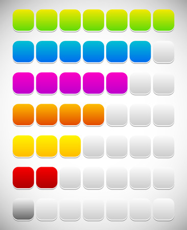 metre: Step, level, progress indicator with 7 units