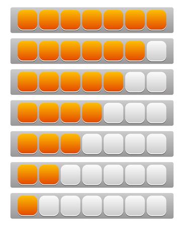 Step, level, progress indicator with 7 units