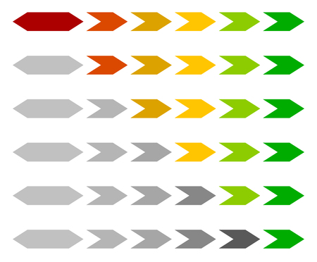 stage chart: Progress  loading bar, step, stage indicators with hexagons Illustration