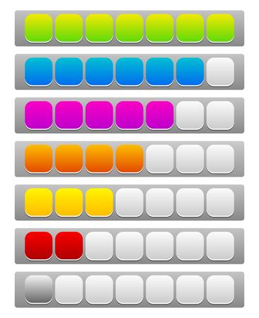 units: Step, level, progress indicator with 7 units