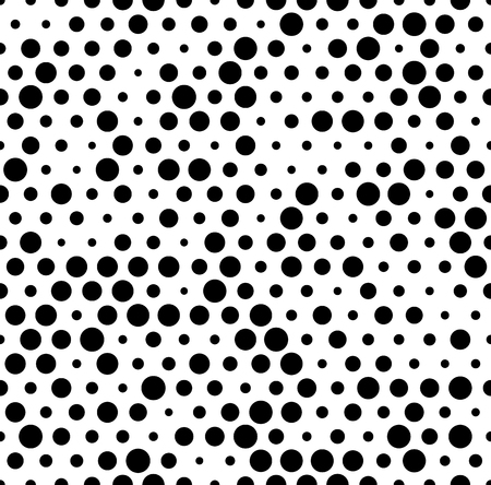 speckle: Seamlessly repeatable pattern with random, irregular dots, circles. Monochrome abstract illustration in speckled, halftone style. Geometric pointillist texture.