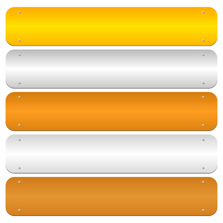 platinum: Gold, silver, bronze, platinum, copper metal bars, banner backgrounds Illustration