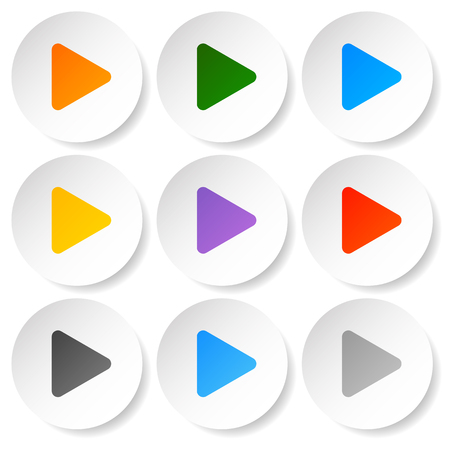 Modern flat play buttons with smooth gradients