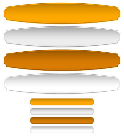 Goud, zilver, brons metalen platen, banners. Vervorming en normale versie Vector Illustratie