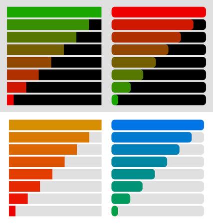 Progress, load bar templates set at 8 stages, steps. Completion, progression indicators Illustration