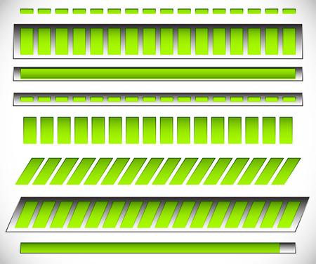 8 different horizontal,  level  progress indicators, meters