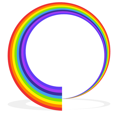 Circular rainbow shape (frame, border, element) with shadow