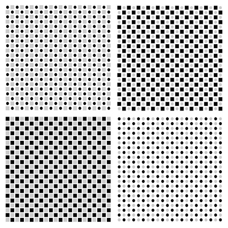 regular: Set of 4 grayscale regular pattern with squares and circles Illustration