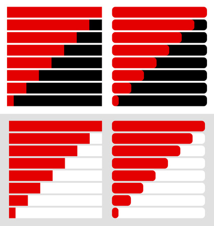 Progress, load bar templates set at 8 stages, steps. Completion, progression indicators Illustration