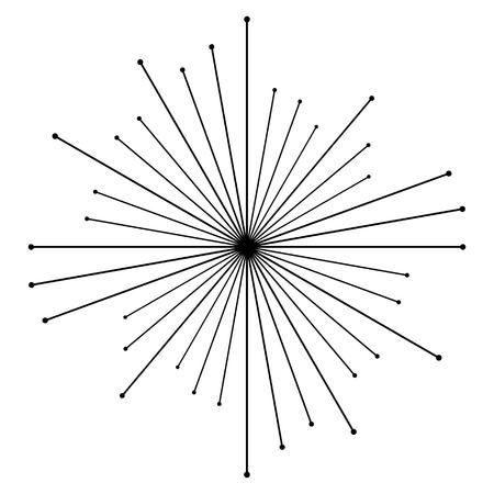 Circular radial, radiating lines element. Abstract rays, beams, flash effect Illustration