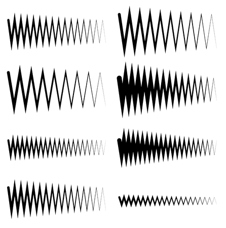 oscillate: Wavy, zigzag EQ equalizer lines. Amplitude, soundwave, frequency concepts Illustration