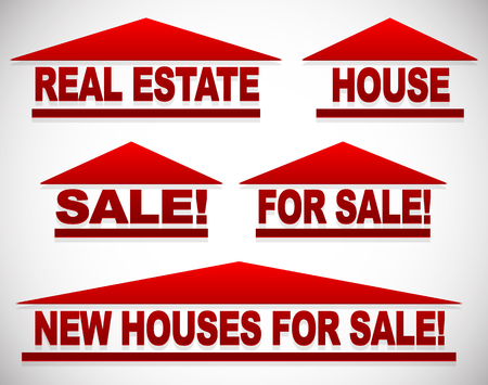 house for sale: Icons with text for real estate concepts - For sale signs house symbols
