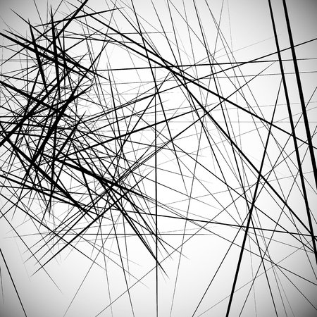 chaotic: Monochrome random chaotic edgy lines abstract artistic pattern Illustration