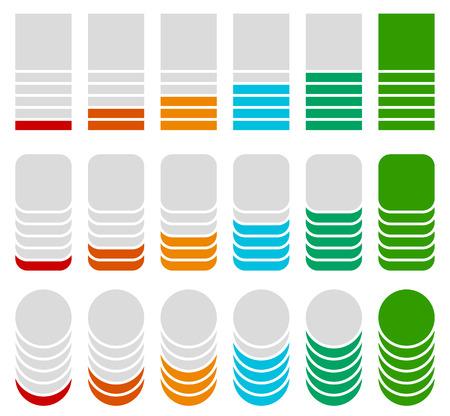 progression: Vertical progress, level indicators. Symbols to show progression, steps, phases. Square, rounded square, circle version. Illustration
