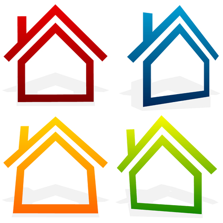House (home, suburban, residential building, real estate) icons Illustration