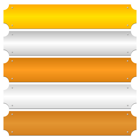 platinum metal: Gold, silver, bronze, platinum, copper metal bars, banner backgrounds Illustration