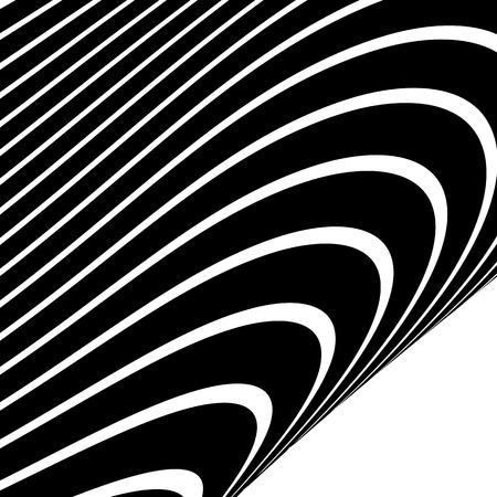 distorted: Distorted, warped lines geometric monochrome pattern. Black and white distorted shapes