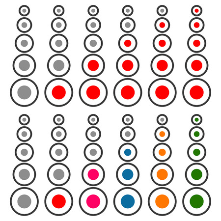 benchmark: 5 step progress, level indicator set. Red and multicolor version Illustration
