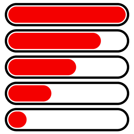 time remaining: 5-step progress, load bars in sequence. Step, phase, level, completion indicator Illustration