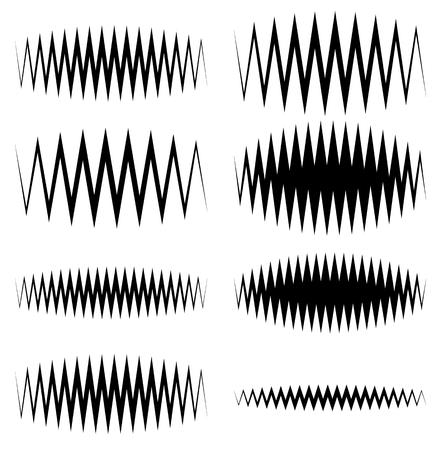 equaliser: Wavy, zigzag EQ equalizer lines. Amplitude, soundwave, frequency concepts Illustration