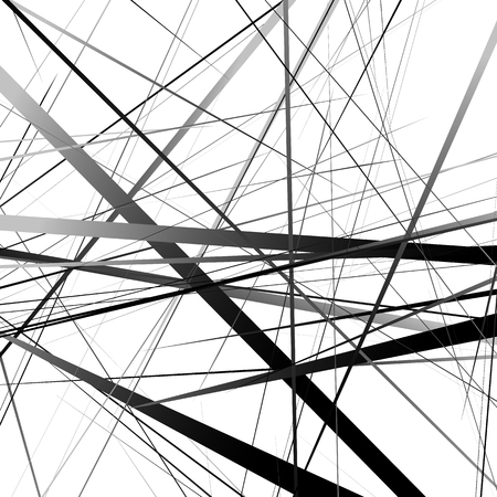 Geometric art random intersecting lines. Asymmetric irregular lines pattern.