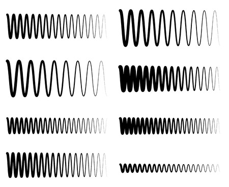 wriggle: Wavy, zigzag EQ equalizer lines. Amplitude, soundwave, frequency concepts Illustration