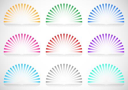 converging: 6 color semi circle starburst  sunburst elements