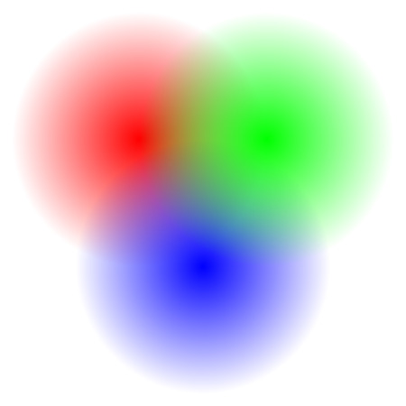 pick light: Transparent RGB circles blended - RGB color space