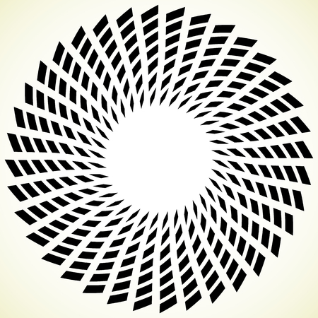 distortion: Geometric spiral element. Rotating, spinning abstract decorative illustration