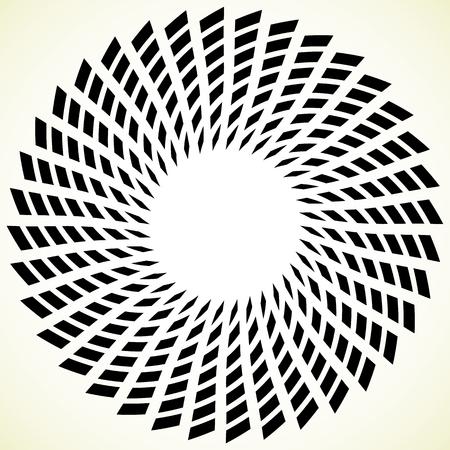 blackwhite: Geometric spiral element. Rotating, spinning abstract decorative illustration